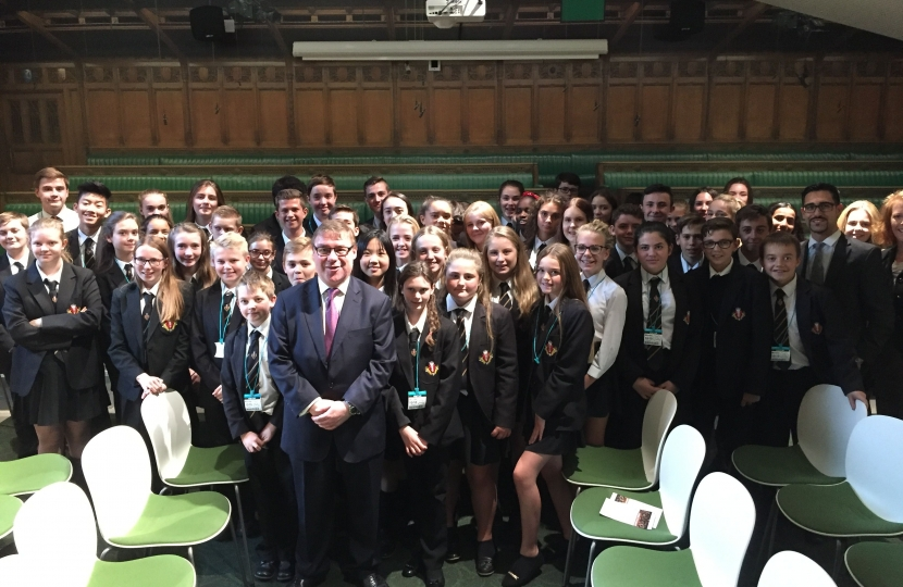 Mark Francois MP pictured with a group of students from Beauchamps High School following their recent visit to the Houses of Parliament.