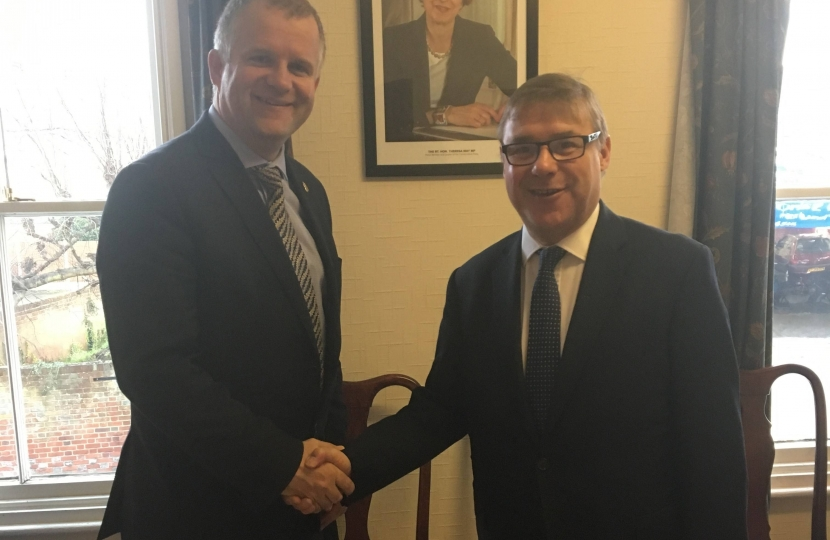 Mark Francois pictured with ARU Vice Chancellor Ian Martin after his briefing on plans by ARU to establish a new medical school in Essex by 2019.