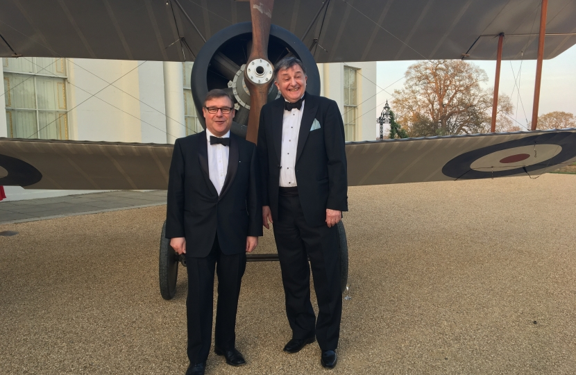 Rayleigh and Wickford MP Mark Francois pictured alongside George Kieffer, Trustee of Stow Maries and Vice Chairman of South East LEP at the charity dinner to raise money for the World War One Stow Maries Aerodrome Project.
