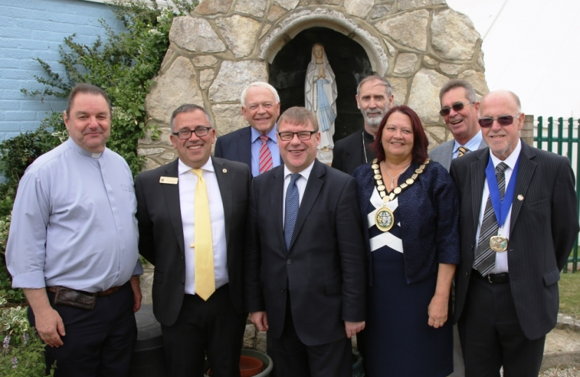 Rayleigh and Wickford MP Mark Francois with the Bishop of Brentwood and other dignitaries celebrating the 50th Anniversary of Our Lady of Ransom School in Rayleigh.