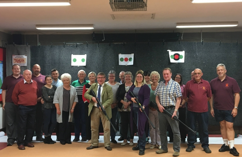 Mark Francois MP pictured with fellow contestants who took part in the Chairman of Rochford District Council's charity shooting match, organised by the First Rayleigh Scouts.