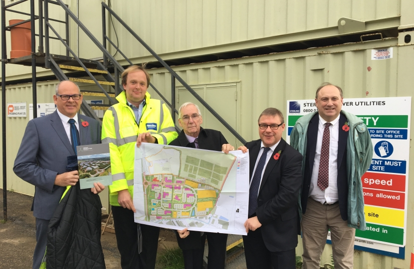 Rayleigh and Wickford MP Mark Francois pictured with an outline plan of the new Airport Business Park at Southend during his recent visit.