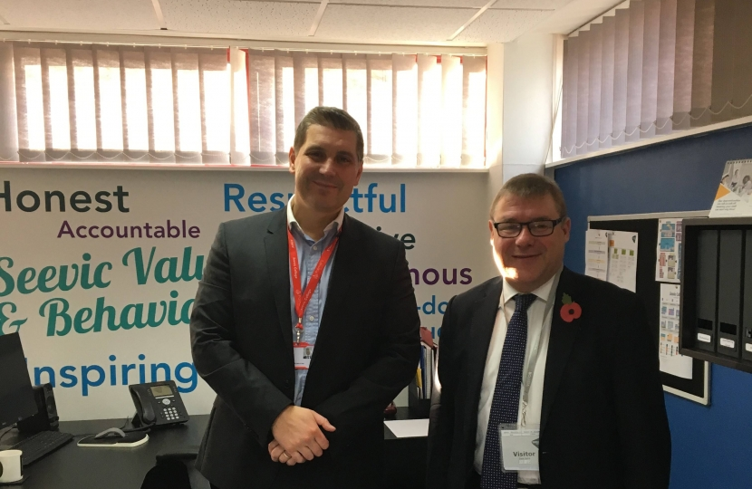 Rayleigh and Wickford MP Mark Francois pictured with Mr Dan Pearson the new principal of Seevic/Palmers College on a recent visit to their Thundersley base.