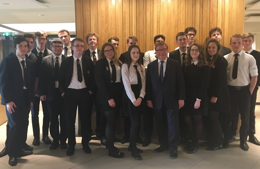 Rayleigh and Wickford MP Mark Francois pictured with Sixth Form politics students from Fitzwimarc School after their recent tour of Westminster.