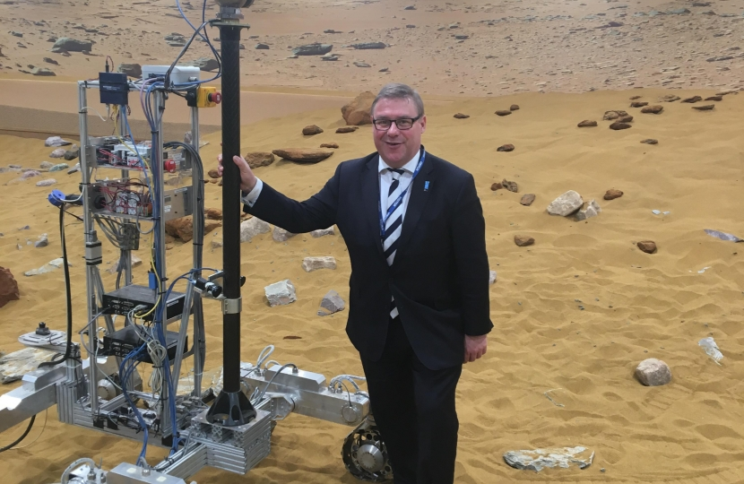 Mark Francois MP pictured with the prototype Mars Rover on a simulated Martian landscape, in preparation for the mission to Mars in 2020.