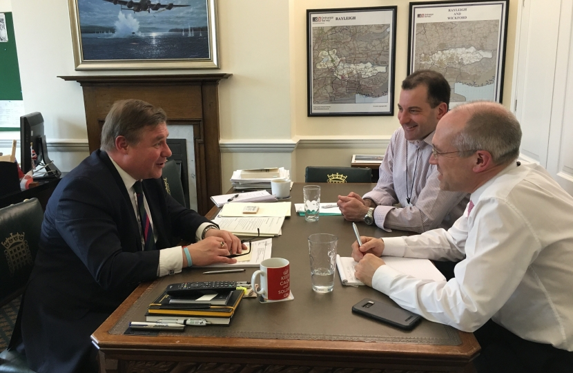 Mark Francois MP pictured earlier this year meeting Jamie Burles and Jonathan Denby where he called for a discount on season tickets for long suffering commuters on Abellio Greater Anglia.