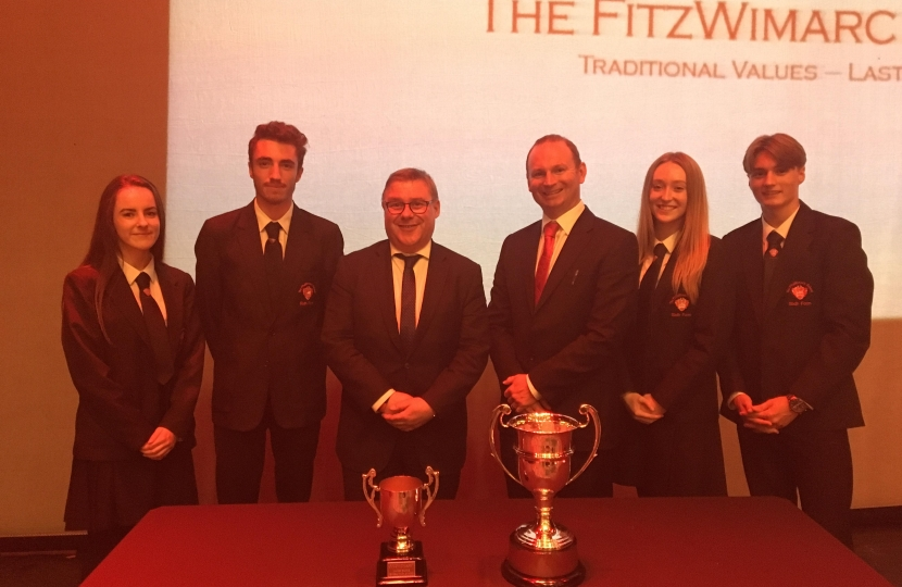 Rayleigh and Wickford MP Mark Francois pictured with headteacher Mr Robert Harris and senior pupils at the FitzWimarc School annual awards evening at the Palace Theatre, Westcliff.