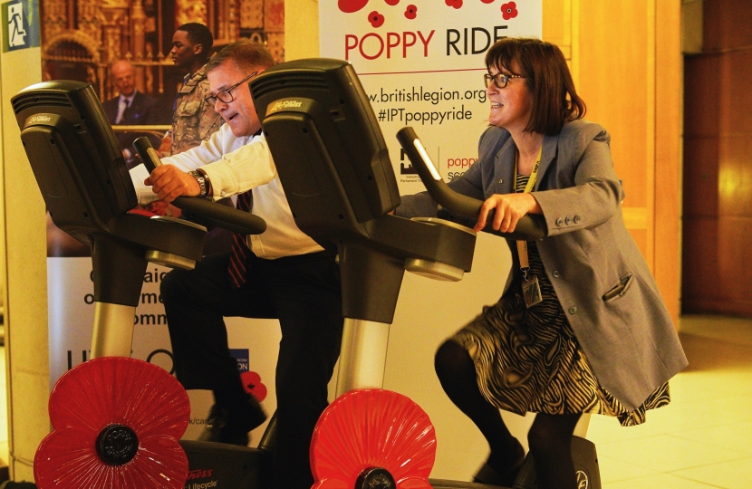Rayleigh and Wickford MP Mark Francois taking part in the IPT annual poppy ride in Parliament.