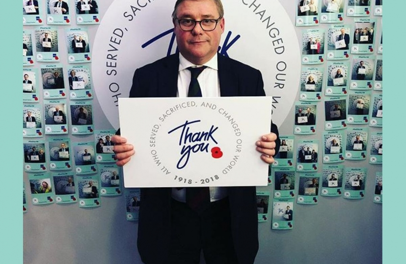 "Rayleigh and Wickford MP Mark Francois pictured saying ""Thank You"" at the Royal British Legion's stand at the Conservative Party Conference."