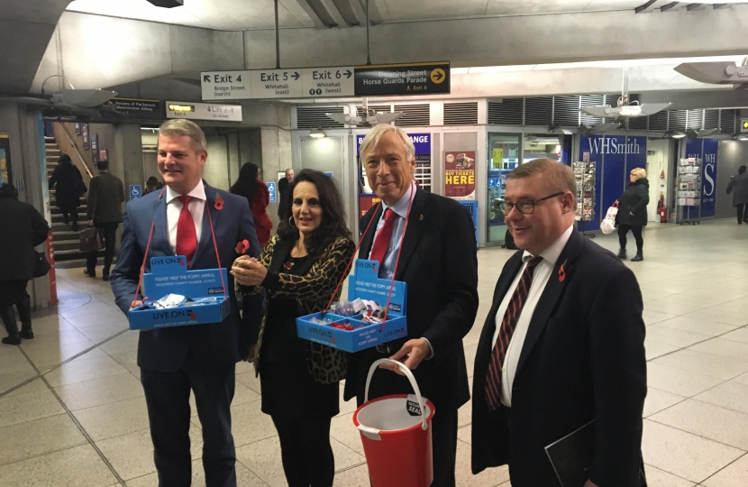 Rayleigh and Wickford MP Mark Francois pictured alongside Birds of a Feather Actress Lesley Joseph and Defence Ministers Stuart Andrew MP and Earl Howe raising money on London Poppy Day.