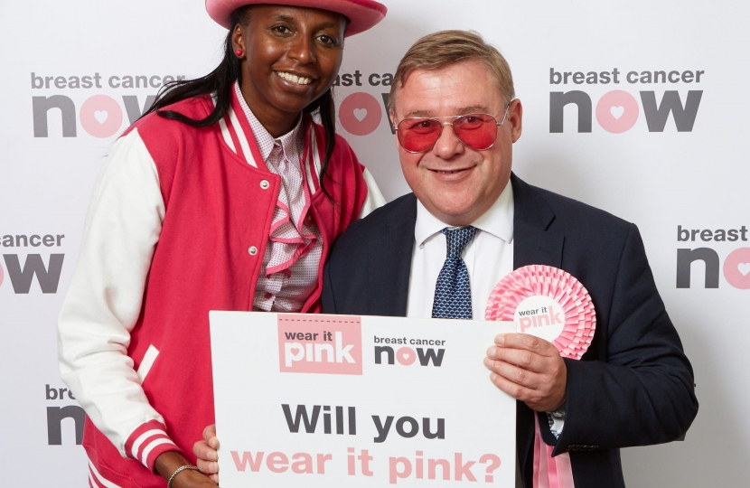 Mark Francois MP poses in pink at Houses of Parliament to support Breast Cancer Now's flagship fundraiser wear it pink