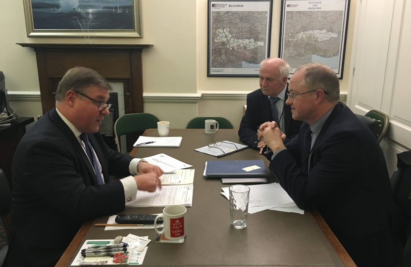 Rayleigh and Wickford MP Mark Francois meeting with Mr Andrew Haines, Chief Executive of Network Rail, and Mr Steve Hooker, Chief Operating Officer, to discuss the ongoing engineering works on the Southend Victoria to London Liverpool Street line.