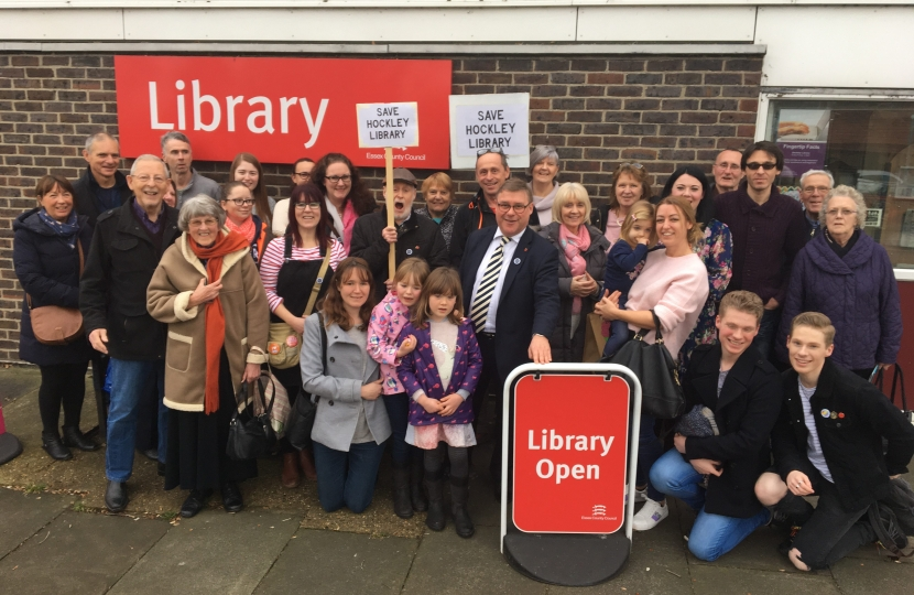 Rayleigh and Wickford MP Mark Francois pictured supporting local residents seeking to save Hockley library in his constituency.