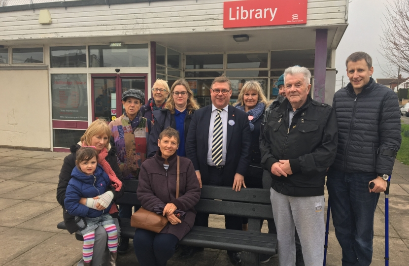 Rayleigh and Wickford MP Mark Francois pictured supporting local residents seeking to save Hullbridge library in his constituency.