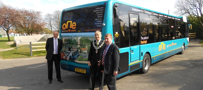 "Mark Francois MP pictured with Rayleigh Town Council Councillor Ian Ward alongside a new Arriva Bus named ""Pride of Rayleigh"" in 2014."