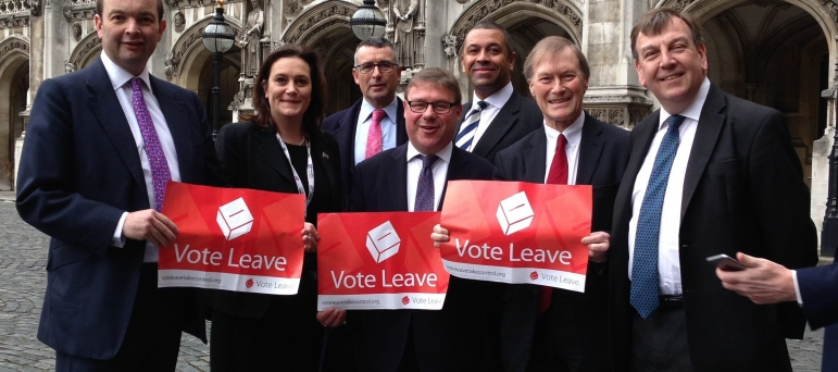 Mark Francois pictured alongside fellow Essex MPs campaign for Vote Leave during the 2016 EU Referendum