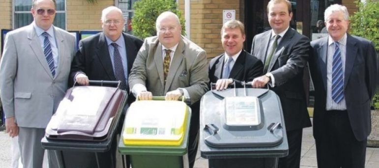 "Mark helping show Secretary of State for Communities and Local Government, Eric Pickles MP, the Rochford District Council ""three bin"" recycling system"