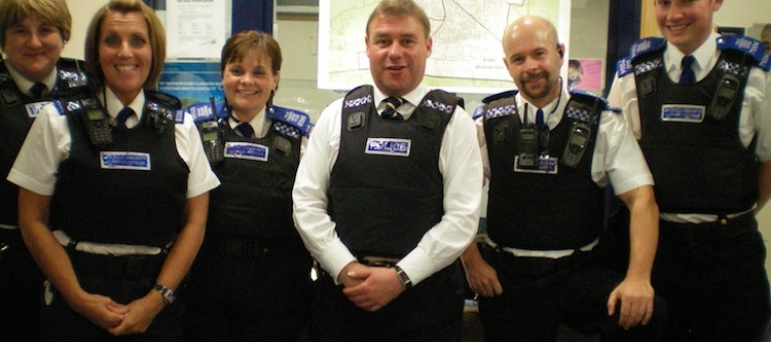 Mark Francois MP with PC Julie Dawes, PCSO Ian Grant, and other members of the Neighbourhood Policing Team